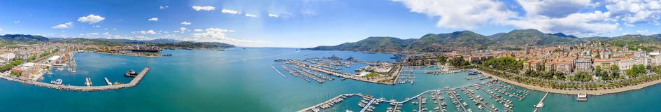La Spezia, Italy. Panoramic view of port and city skyline on a s. Unny day stock image