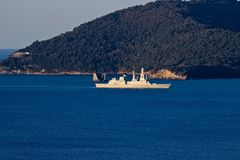 La Spezia, Liguria, Italy 03/27/2019 Navio militar italiano D554, Caio Duilio imagem de stock royalty free