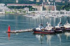 La Spezia with marina and Thaon Bridge Royalty Free Stock Photo