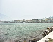La spezia under a storm of snow. In march royalty free stock image