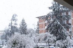 Snow in la spezia Stock Photos
