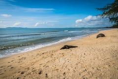 La spiaggia Bangsaphan a Prachuabkirikhan Fotografia Stock Libera da Diritti