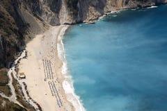 La spiaggia con una vista superiore Fotografia Stock