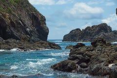 La spiaggia dei cocinas dell'isola in Punta Perula, Messico immagine stock