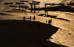 La spiaggia dell'argento del mare Fotografia Stock