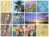 La spiaggia dell'estate vacations, viaggio della natura e collage di turismo Immagini Stock Libere da Diritti