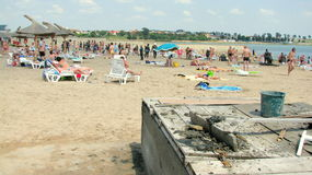 La spiaggia della località di soggiorno di Techirghiol, Romania Immagine Stock Libera da Diritti