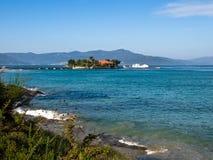La spiaggia di Aguieira a Oporto fa il figlio Fotografie Stock Libere da Diritti