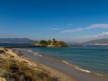 La spiaggia di Aguieira a Oporto fa il figlio Fotografia Stock