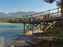 La spiaggia di Aguieira a Oporto fa il figlio Immagini Stock Libere da Diritti