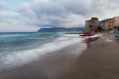 La spiaggia di Alassio, Italia Immagine Stock
