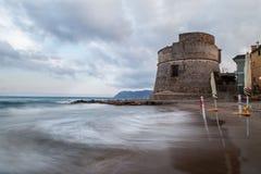 La spiaggia di Alassio, Italia Immagini Stock