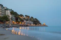 La spiaggia di Alassio, Italia Fotografia Stock Libera da Diritti
