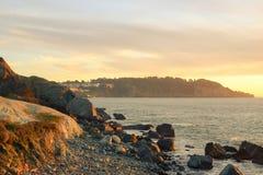 La spiaggia di Marshall quando il tramonto Fotografia Stock