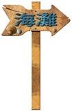 La spiaggia direzionale firma dentro la lingua cinese Fotografia Stock