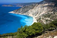 La spiaggia famosa di Myrtos di Kefalonia - vista arial Fotografia Stock Libera da Diritti