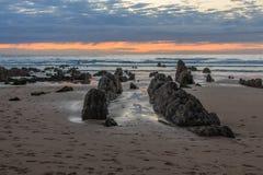 La spiaggia meravigliosa e peculiare di Barrika Fotografie Stock Libere da Diritti