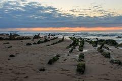 La spiaggia meravigliosa e peculiare di Barrika Fotografie Stock