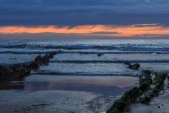 La spiaggia meravigliosa e peculiare di Barrika Fotografia Stock