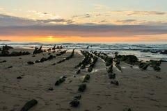 La spiaggia meravigliosa e peculiare di Barrika Immagini Stock