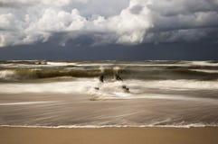 La spiaggia nella città di Chlopy in Polonia Mar Baltico 2013 Immagine Stock Libera da Diritti