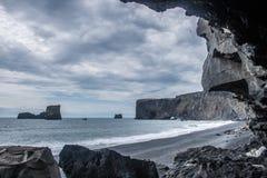 La spiaggia nera Fotografia Stock Libera da Diritti