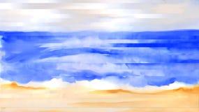 La spiaggia ondeggia il litorale di una pittura dell'acquerello dell'estratto della spuma dell'oceano Immagine Stock Libera da Diritti