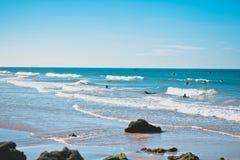 La spiaggia praticante il surfing del Marocco Fotografia Stock Libera da Diritti