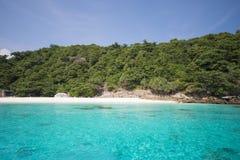 La spiaggia tropicale con cielo blu ed il mare blu calmo praticano il surfing Fotografia Stock