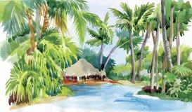 La spiaggia tropicale dell'acquerello con le palme e la capanna vector l'illustrazione Fotografie Stock