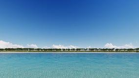 La spiaggia tropicale e la chiara acqua 3D rendono Immagine Stock Libera da Diritti