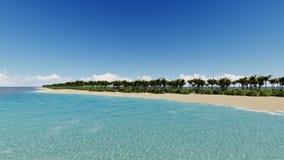 La spiaggia tropicale e la chiara acqua 3D rendono Fotografia Stock