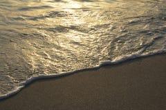 La spiaggia tropicale ondeggia all'ora dorata Fotografia Stock