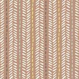 La spina di pesce tribale disegnata a mano cuce sul modello senza cuciture di vettore marrone del fondo Disegno geometrico fresco illustrazione vettoriale