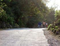 La spinta Bikes giù una strada campestre Fotografia Stock