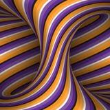 La spirale commovente ha modellato il hyperboloid delle bande porpora arancio Illustrazione di illusione ottica di vettore Immagini Stock Libere da Diritti