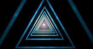La spirale ipnotica di pendenza del tunnel blu geometrico astratto del triangolo, con punto leggero su fondo nero, computer 3d re illustrazione vettoriale