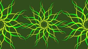 La spirale variopinta modellata girante verde & gialla, estratto ondeggia il fondo illustrazione di stock