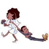 La sposa arrabbiata trascina lo sposo per sposarsi Immagini Stock