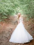 La sposa bionda maestosa si gira nell'ambito dei rami verdi Fotografie Stock