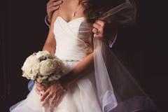 La sposa con un mazzo di cerimonia nuziale Immagine Stock Libera da Diritti
