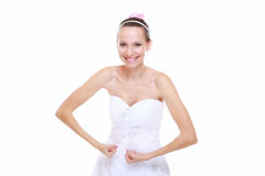 La sposa della ragazza mostra la suoi forza muscolare e potere Immagini Stock