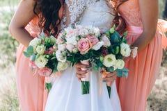 La sposa e le damigelle d'onore si avvicinano agli alberi Fotografia Stock