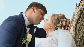 La sposa e lo sposo all'aperto si baciano Giorno delle nozze stock footage