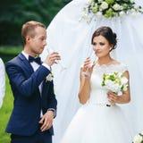 La sposa e lo sposo bevono il champagne che sta dietro un altare di nozze Fotografia Stock
