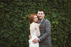La sposa e lo sposo che posano vicino ad un recinto verde Immagini Stock