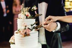 La sposa e lo sposo hanno tagliato insieme la torta nunziale immagini stock