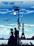 La sposa e lo sposo a Parigi Immagine Stock