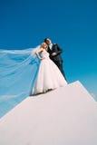 La sposa e lo sposo sono fotografati contro il cielo fotografie stock libere da diritti
