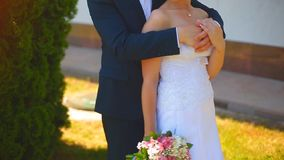 La sposa e lo sposo stanno camminando lungo il vicolo del parco video d archivio
